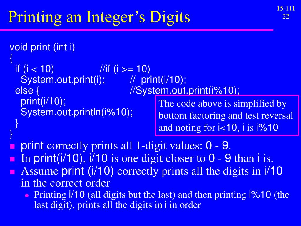 Printing an Integer's Digits