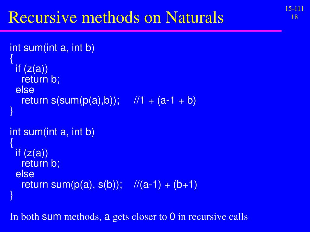 Recursive methods on Naturals