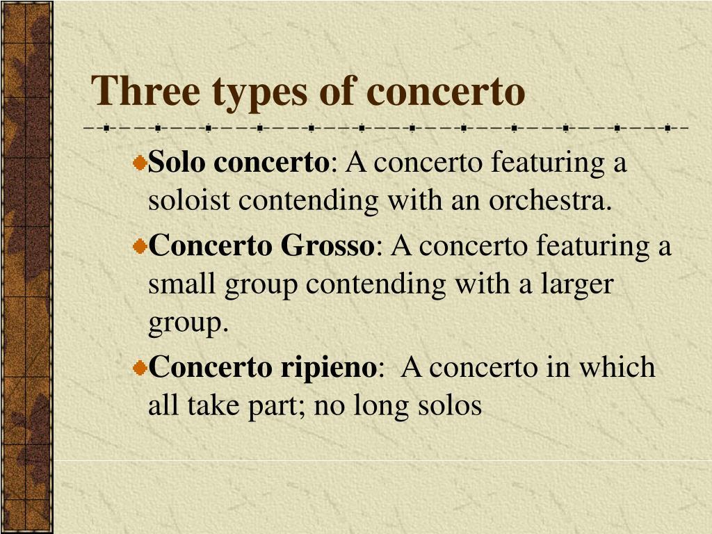 Three types of concerto