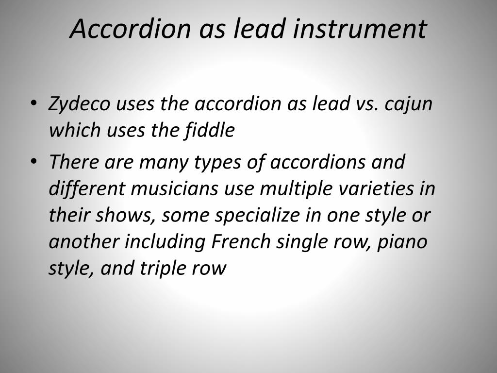 Accordion as lead instrument