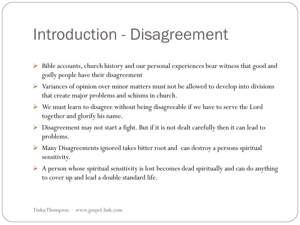 Introduction - Disagreement