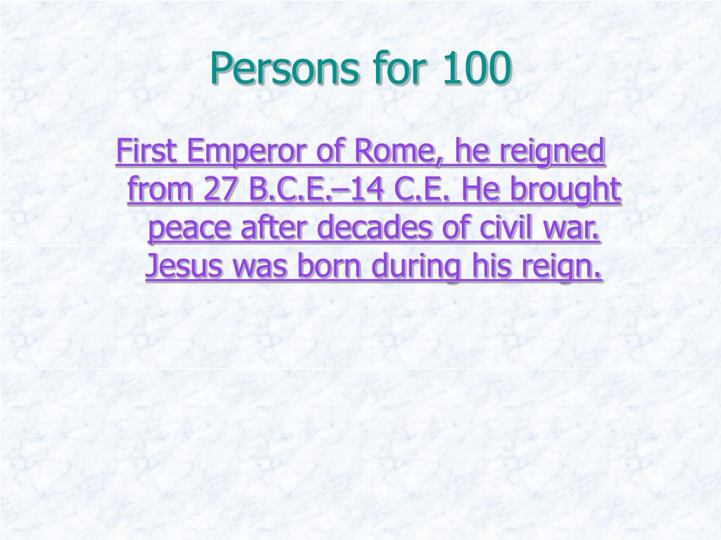 Persons for 100