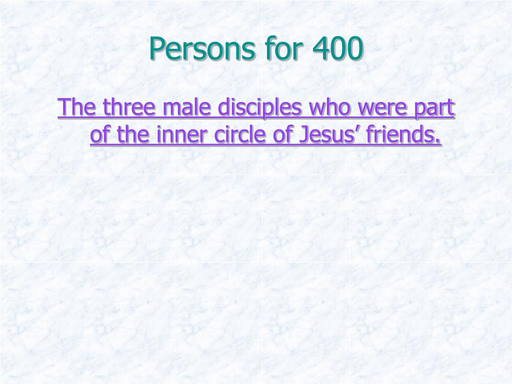 Persons for 400