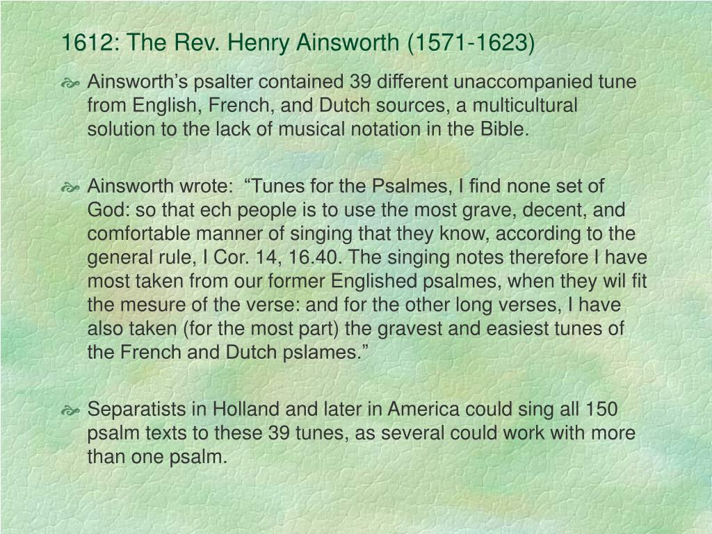 1612: The Rev. Henry Ainsworth (1571-1623)