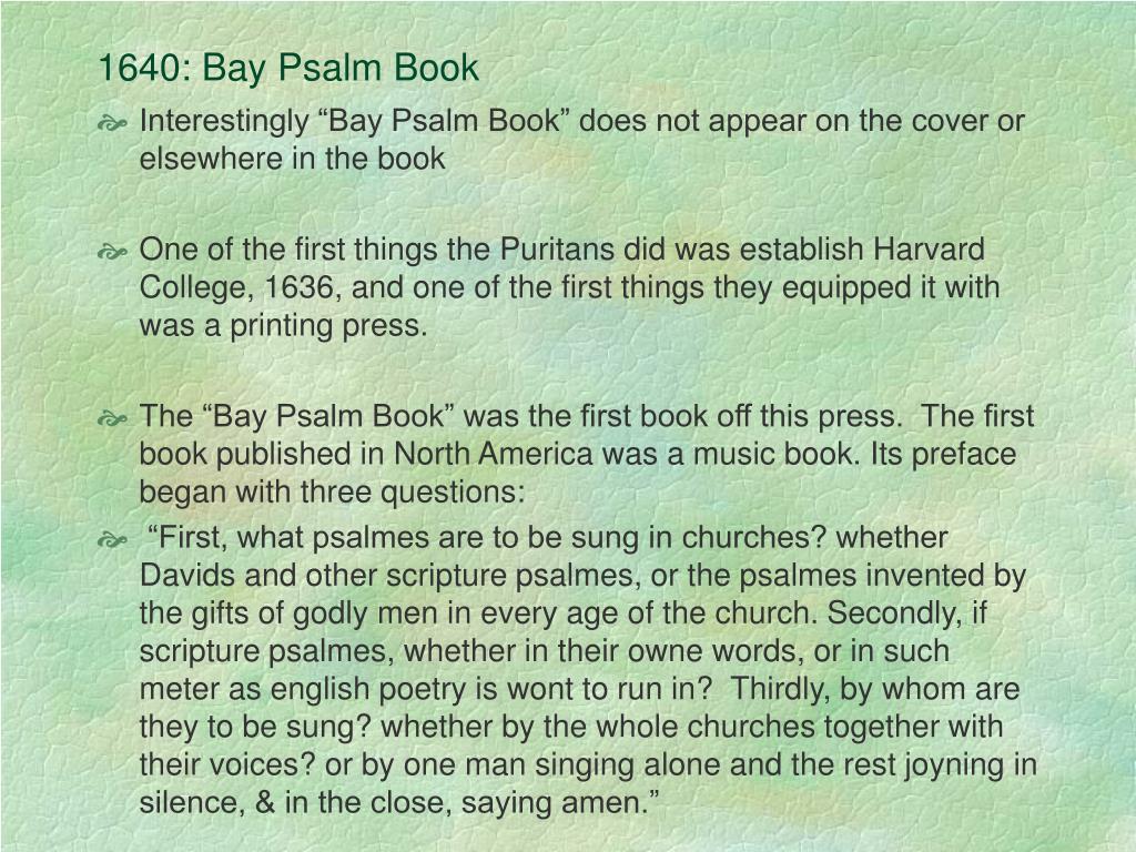 1640: Bay Psalm Book