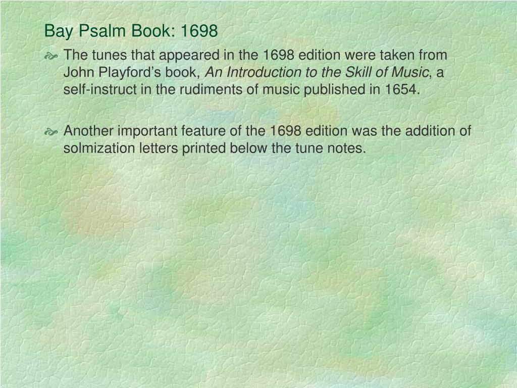 Bay Psalm Book: 1698