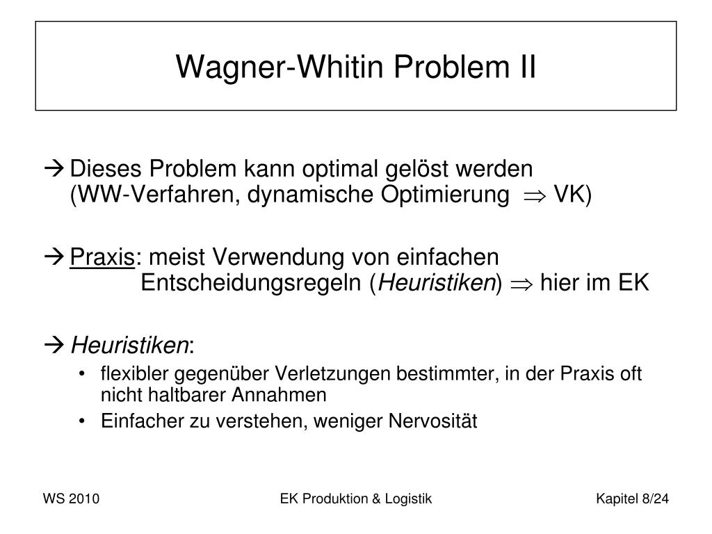 Wagner-Whitin Problem II