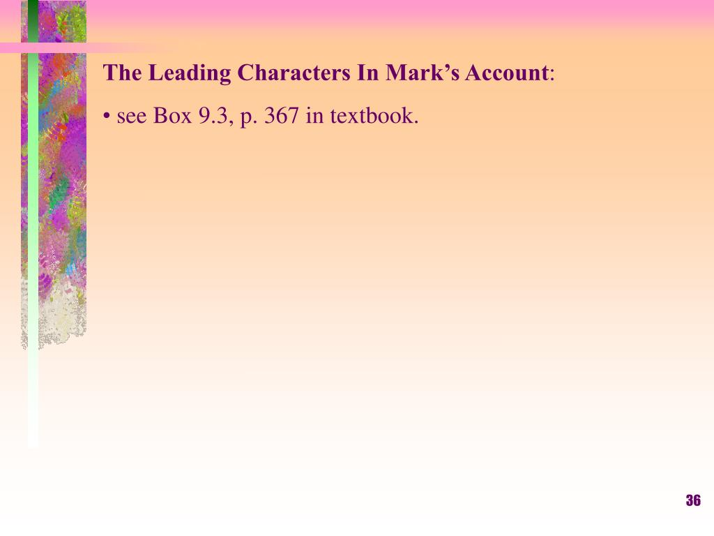 The Leading Characters In Mark's Account