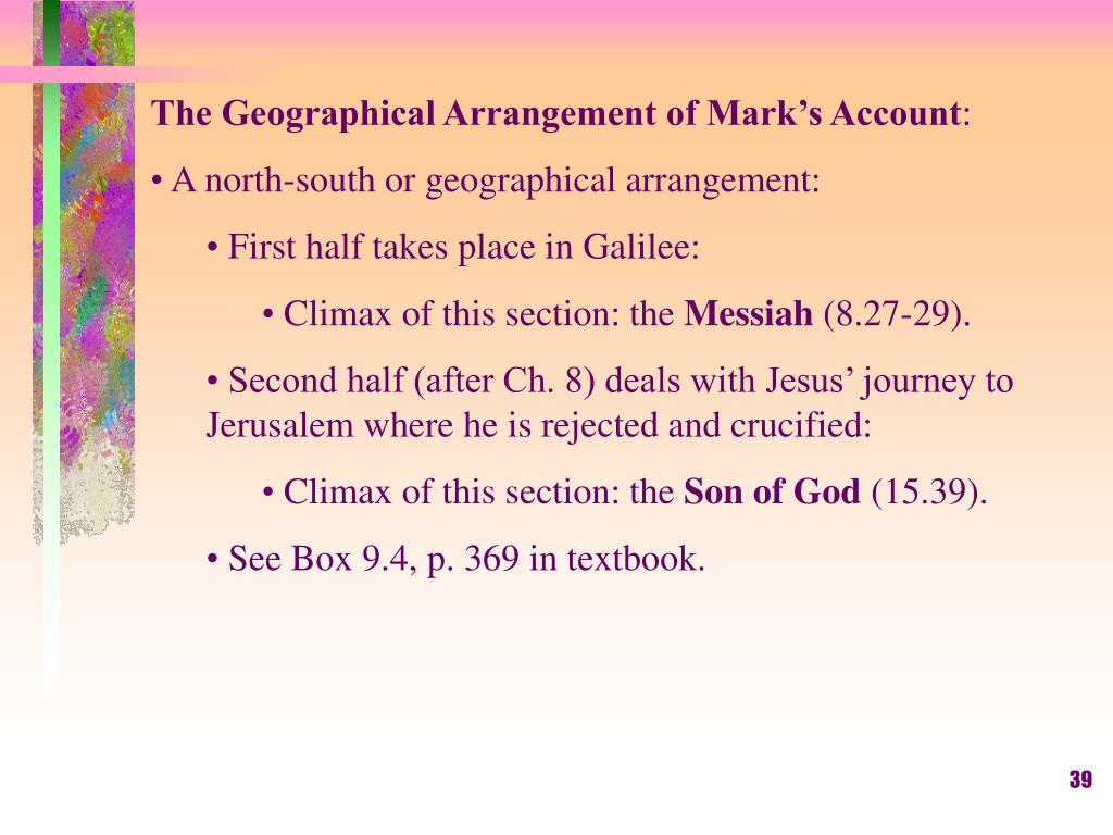 The Geographical Arrangement of Mark's Account