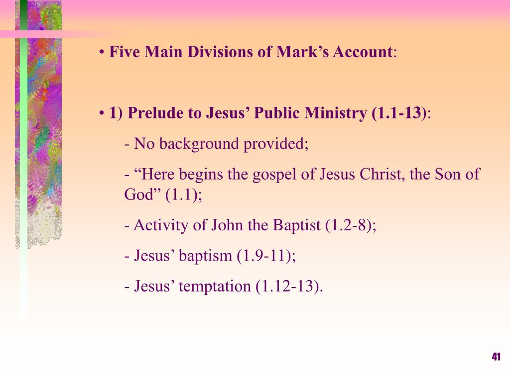 Five Main Divisions of Mark's Account