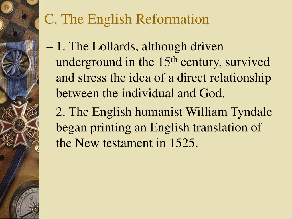 C. The English Reformation