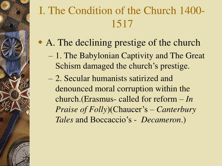 I the condition of the church 1400 1517 l.jpg