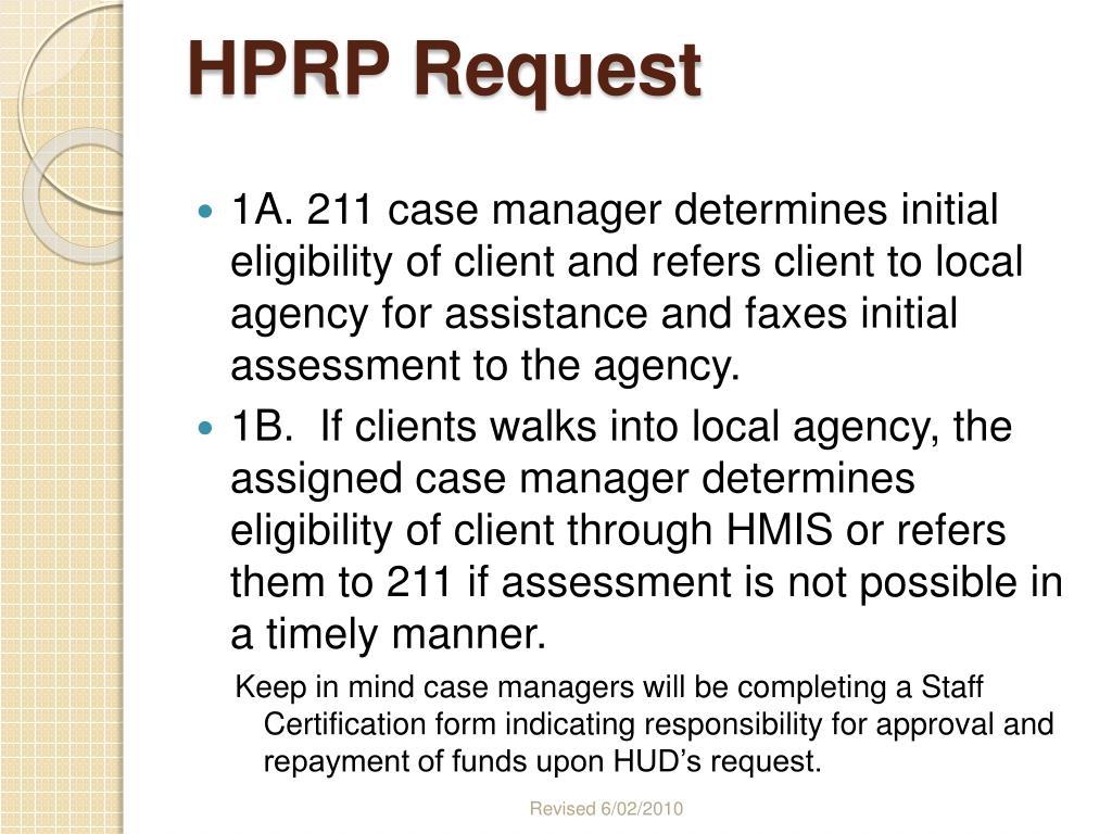 HPRP Request
