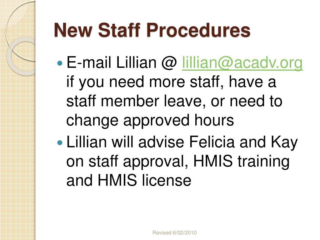 New Staff Procedures