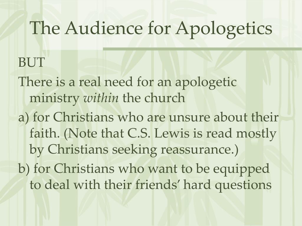The Audience for Apologetics