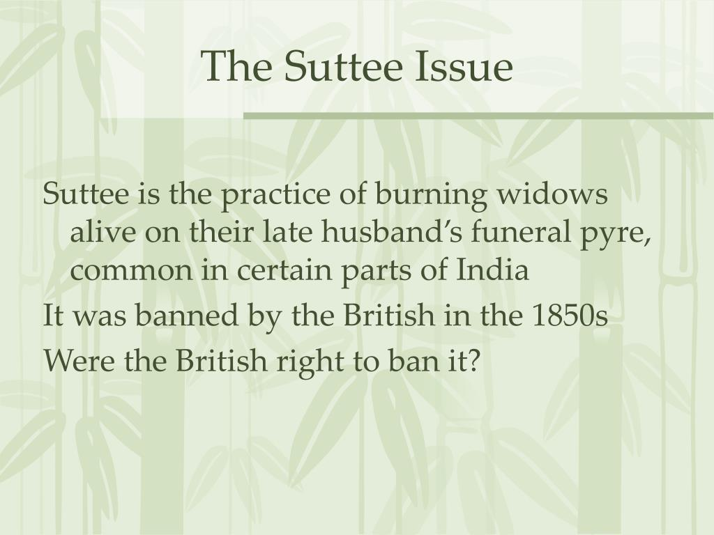 The Suttee Issue