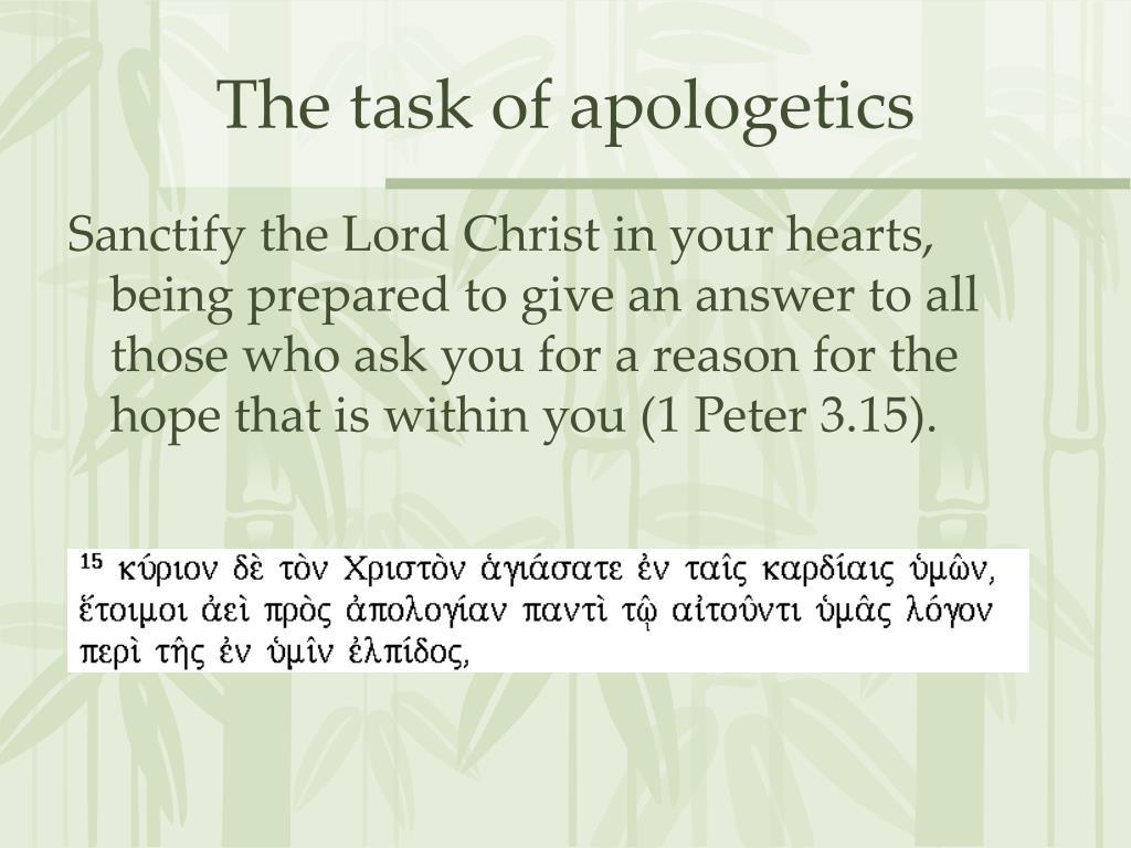 The task of apologetics