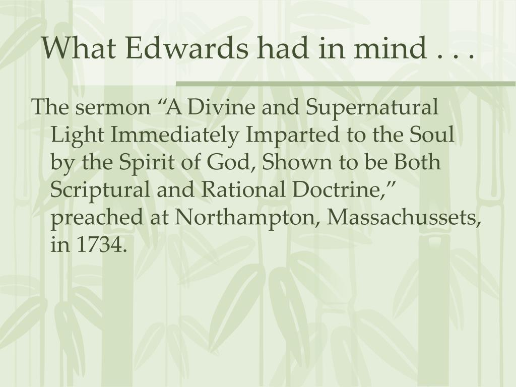 What Edwards had in mind . . .