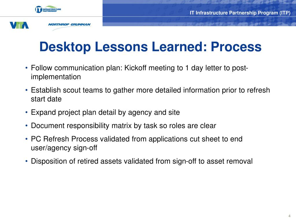 Desktop Lessons Learned: Process
