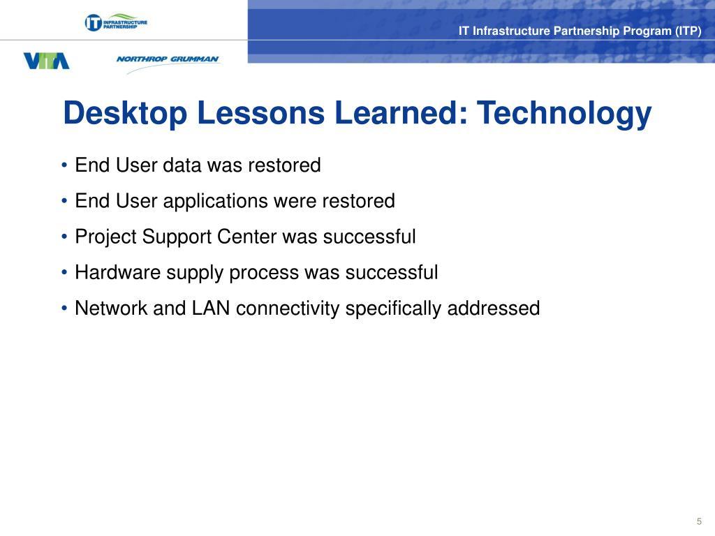 Desktop Lessons Learned: Technology