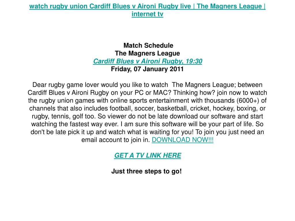 watch rugby union Cardiff Blues v Aironi Rugby live | The Magners League | internet tv