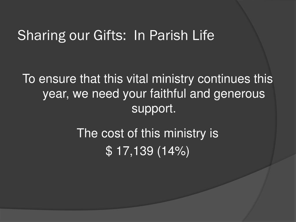 Sharing our Gifts:  In Parish Life