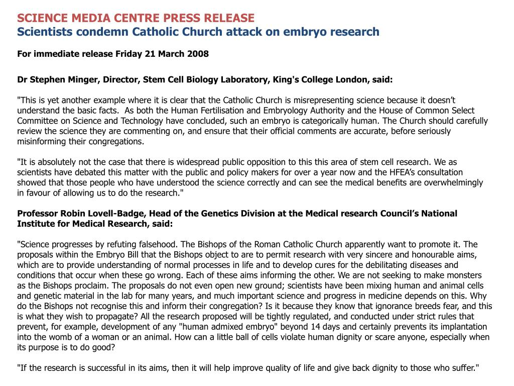 SCIENCE MEDIA CENTRE PRESS RELEASE