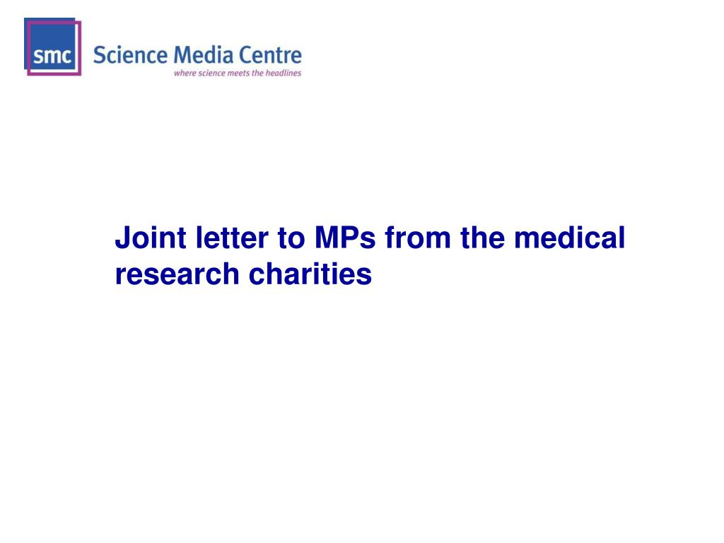 Joint letter to MPs from the medical research charities