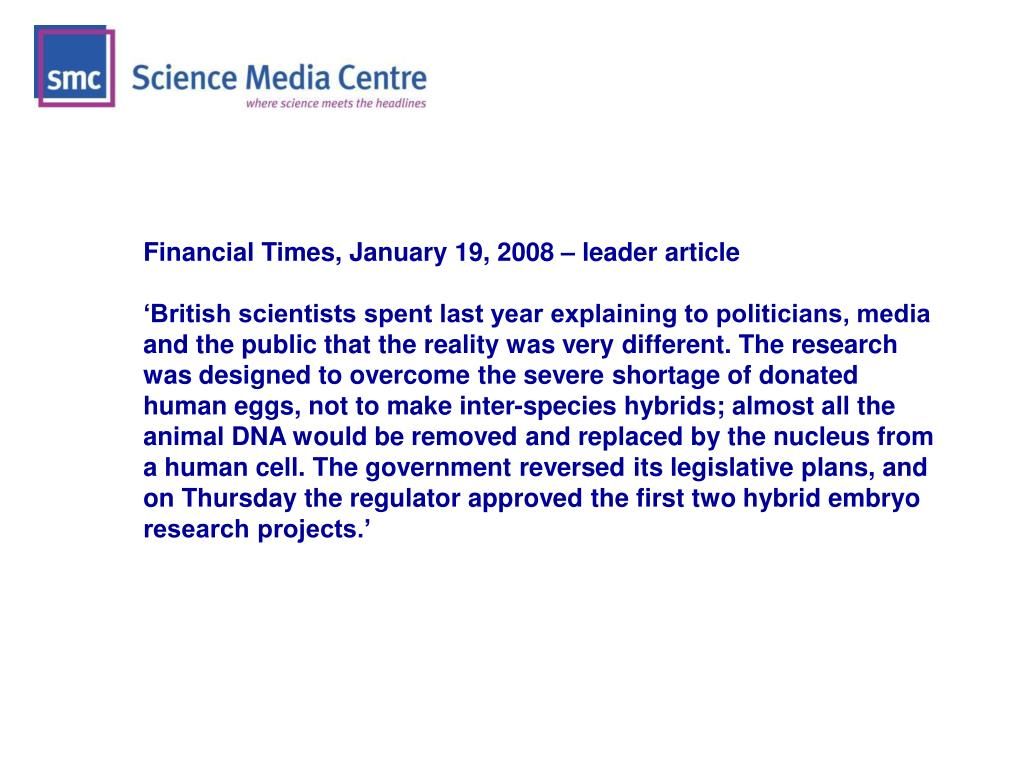 Financial Times, January 19, 2008 – leader article