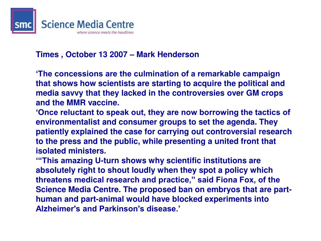 Times , October 13 2007 – Mark Henderson