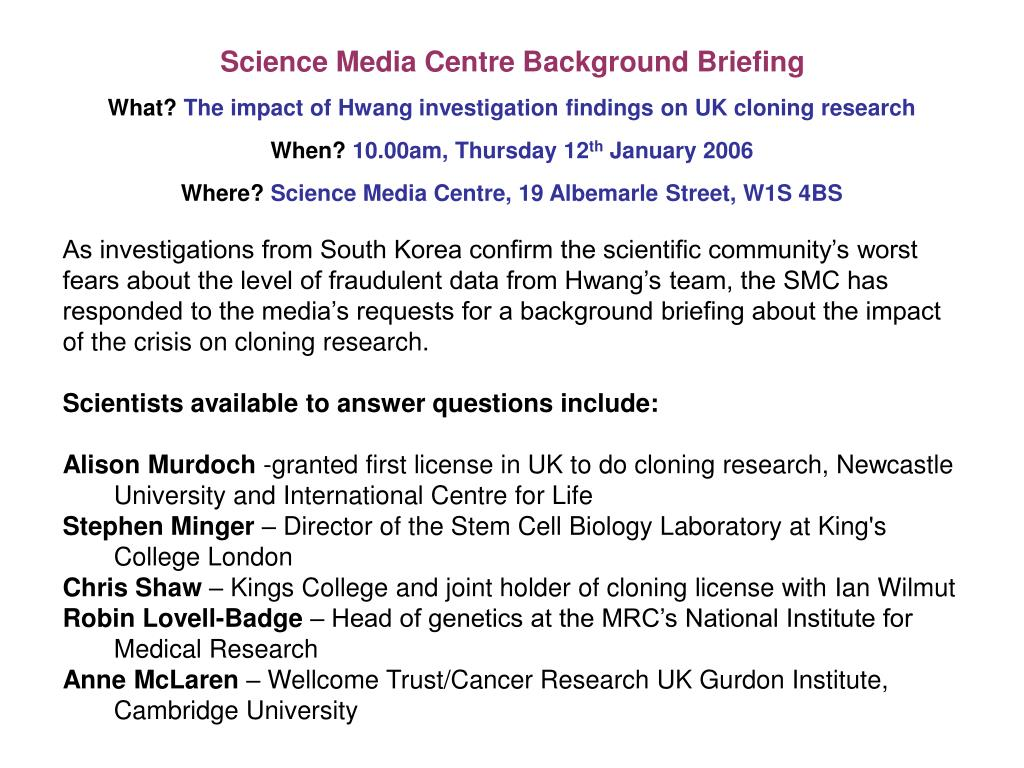 Science Media Centre Background Briefing