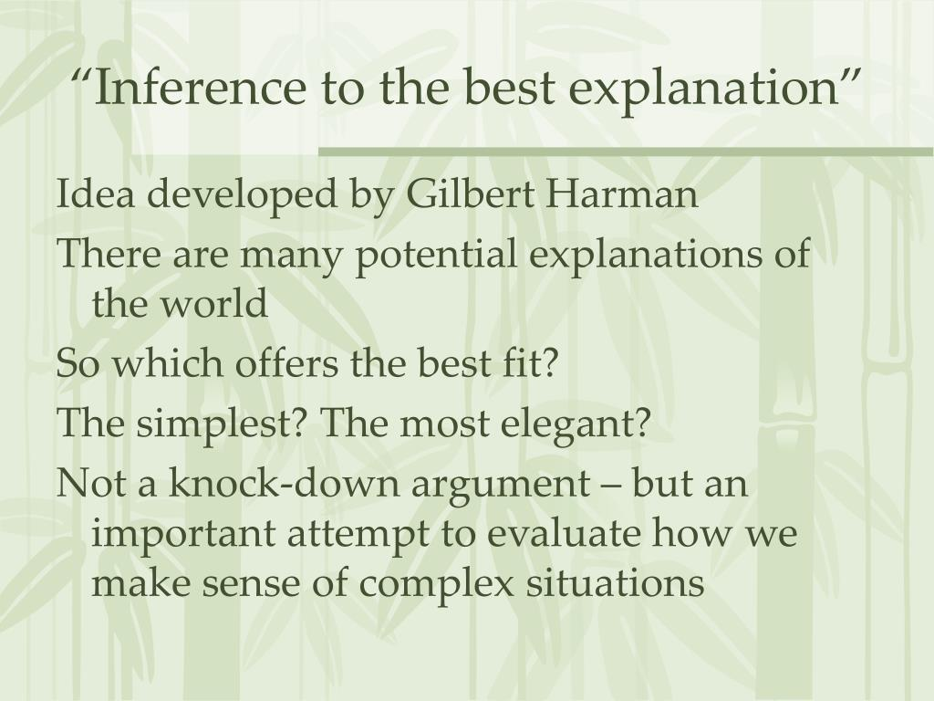 """Inference to the best explanation"""