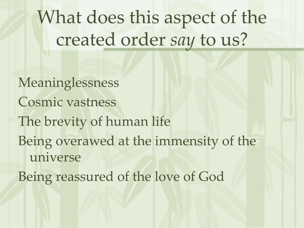 What does this aspect of the created order