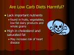 are low carb diets harmful