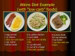 atkins diet example with low carb foods