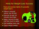 hints for weight loss success
