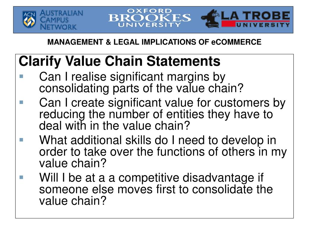Clarify Value Chain Statements