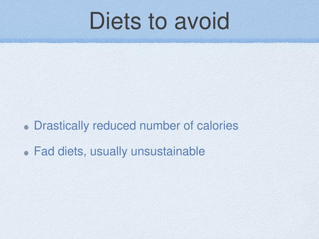 Diets to avoid
