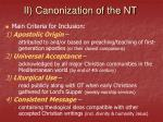 ii canonization of the nt11