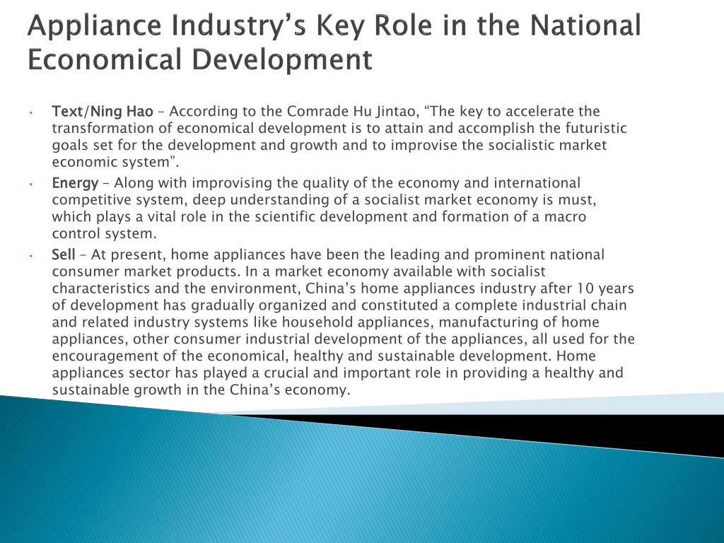 Appliance Industry's Key Role in the National Economical Development