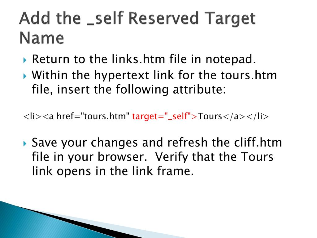 Add the _self Reserved Target Name