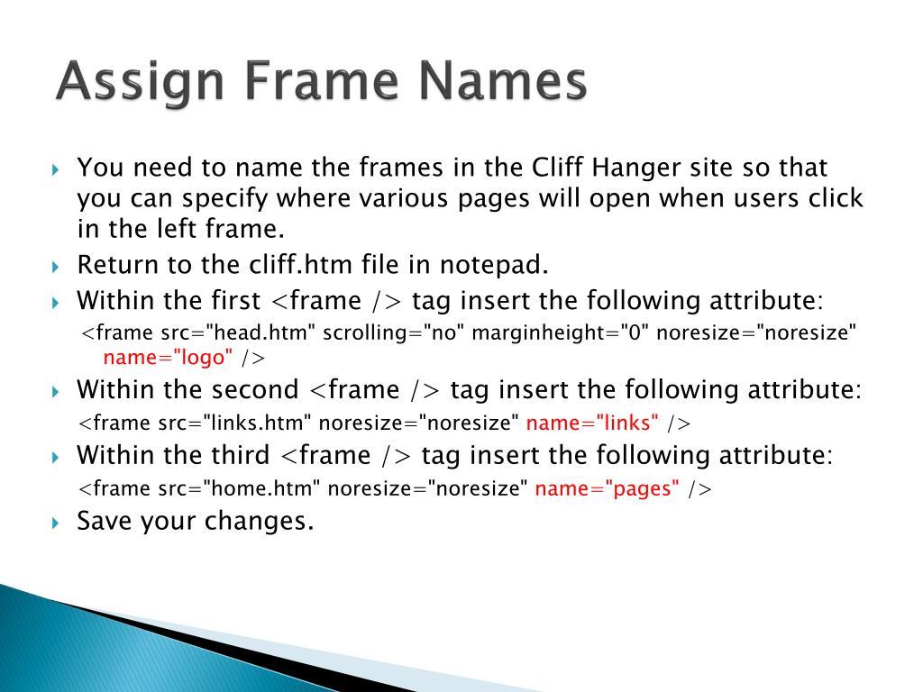 Assign Frame Names