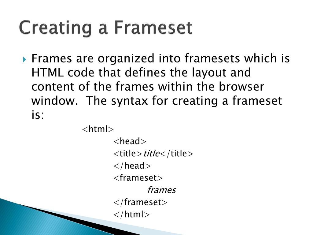 Creating a Frameset