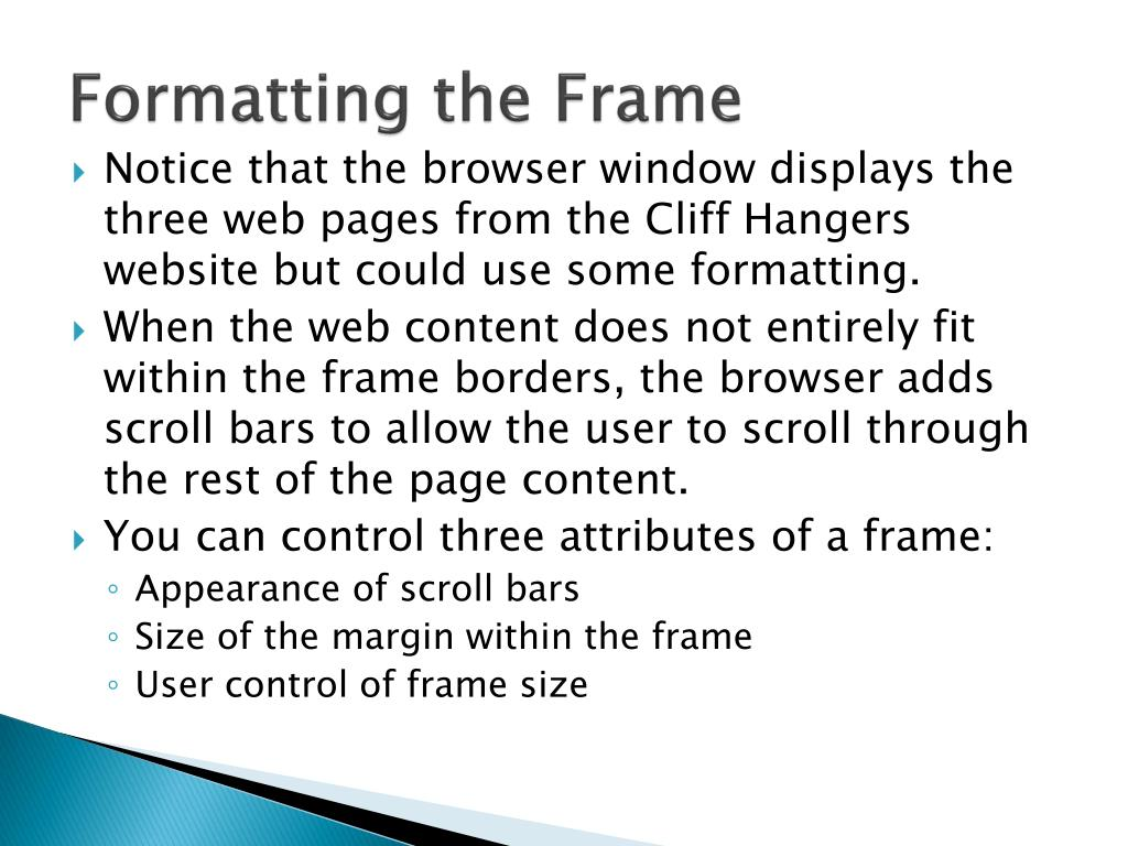 Formatting the Frame