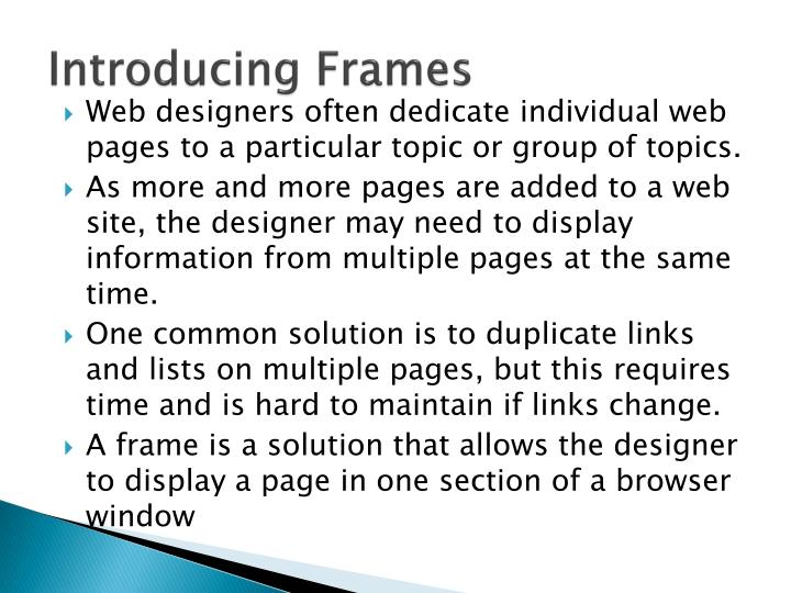 Introducing frames