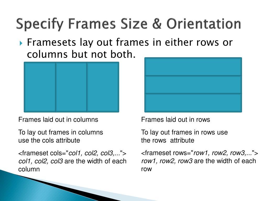 Specify Frames Size & Orientation