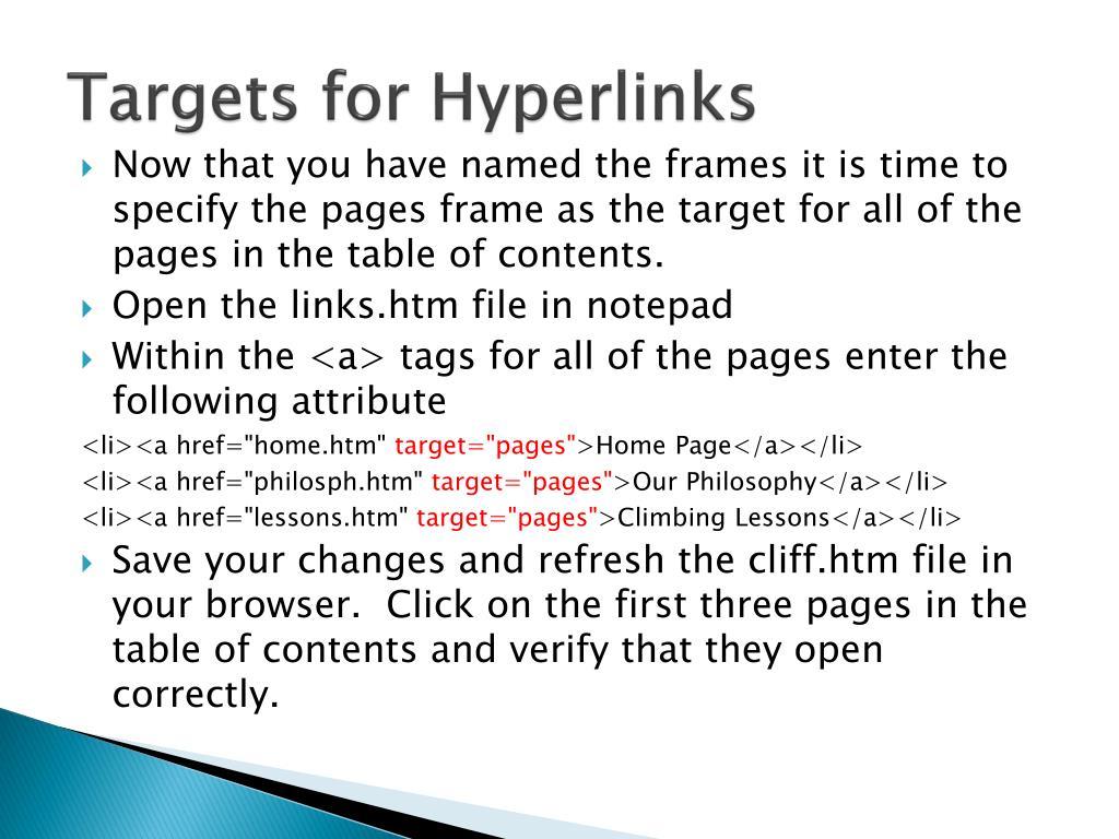 Targets for Hyperlinks
