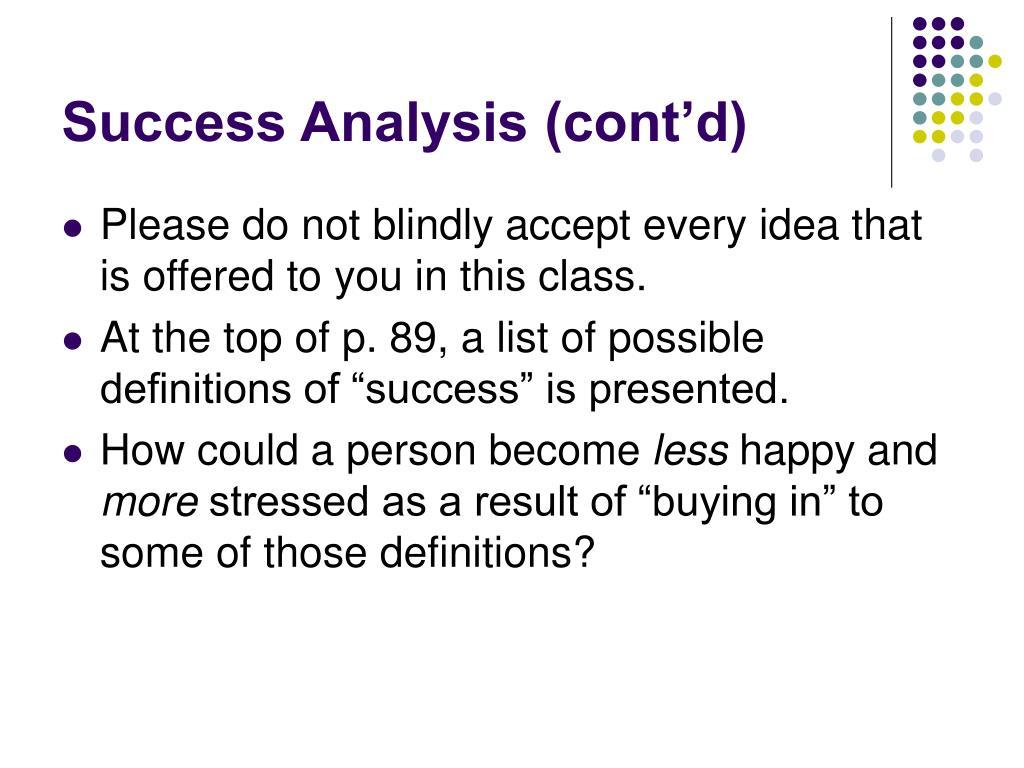 Success Analysis (cont'd)