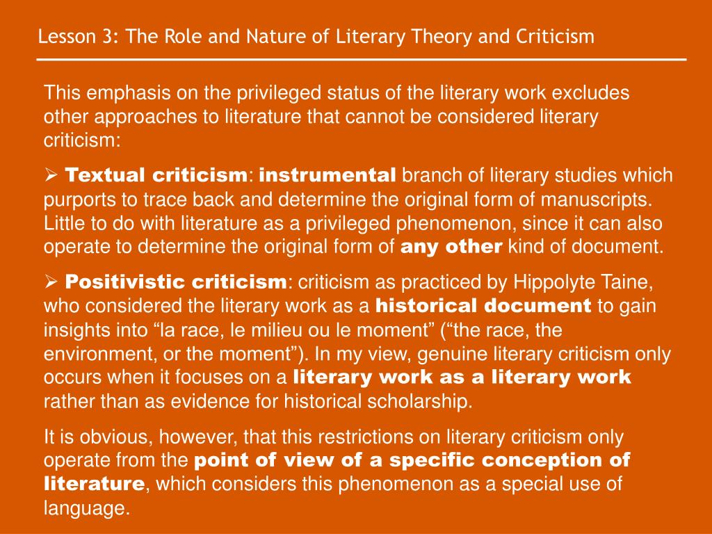 Lesson 3: The Role and Nature of Literary Theory and Criticism