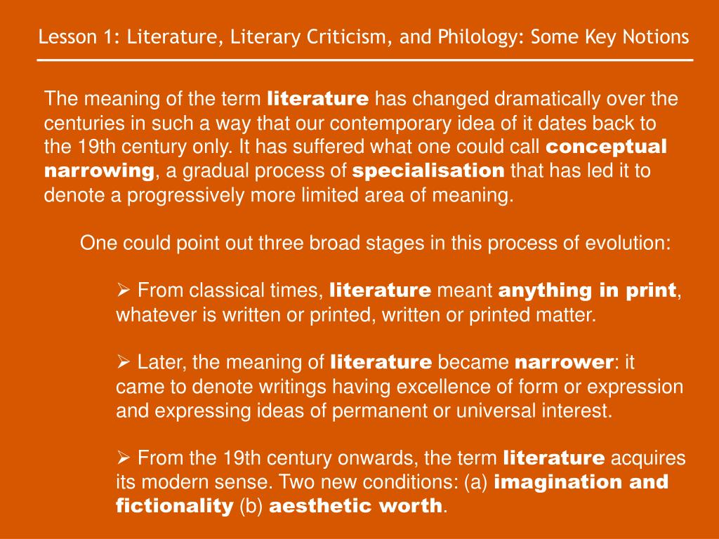 Lesson 1: Literature, Literary Criticism, and Philology: Some Key Notions